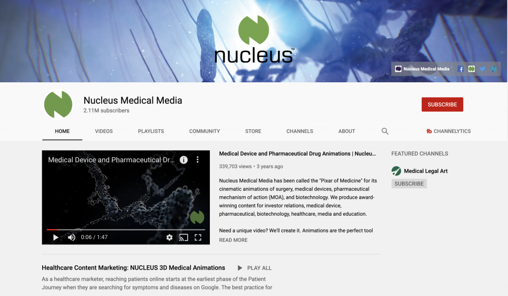healthcare content marketing example - nucleus medical media