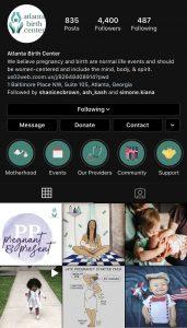 healthcare marketing - atlanta birth center instagram